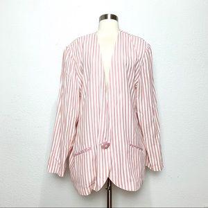 Vintage Pink Cream Striped Blazer Jacket 16